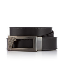 Black leather logo belt 120cm