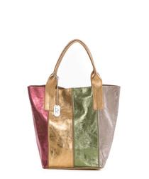 Multi-coloured leather shoulder bag