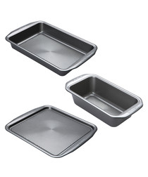 3pc silver-tone baking tray set