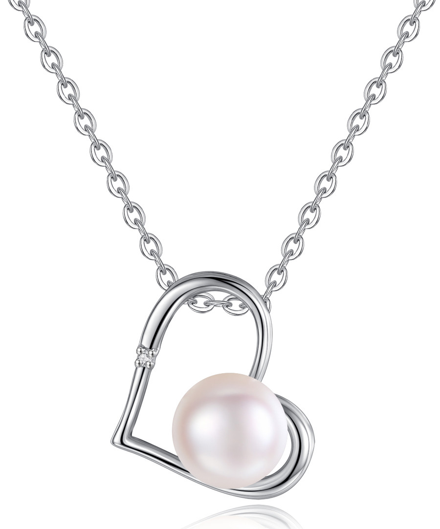 0.8cm pink pearl silver-tone necklace Sale - Clear Crystal
