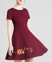 Wine cotton blend embroidered dress