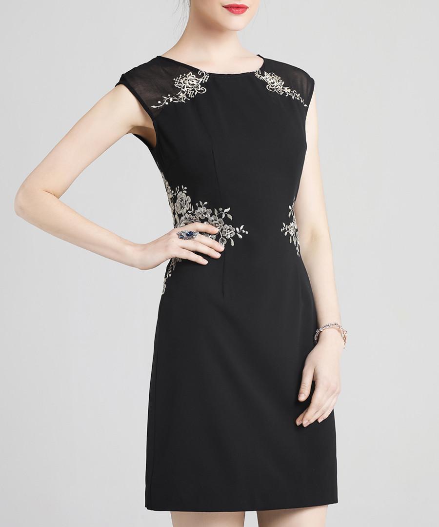Black embroidered cap sleeve dress Sale - lanelle