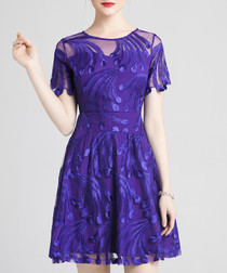 Purple embroidered mini dress