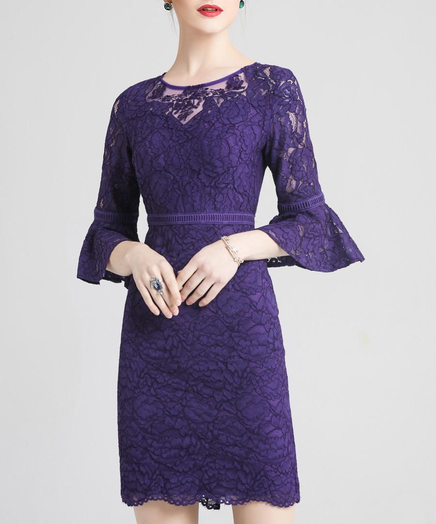 Purple lace ruffle sleeve mini dress Sale - lanelle