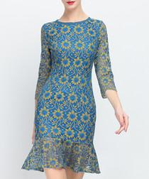 Blue embroidered ruffle mini dress