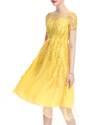 Yellow sheer panel embroidered dress