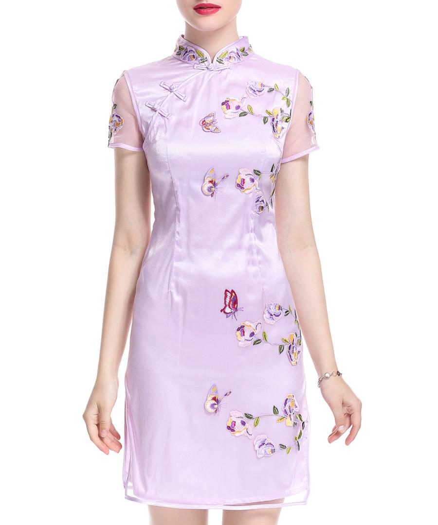 Lavender Chinese collar floral dress Sale - lanelle