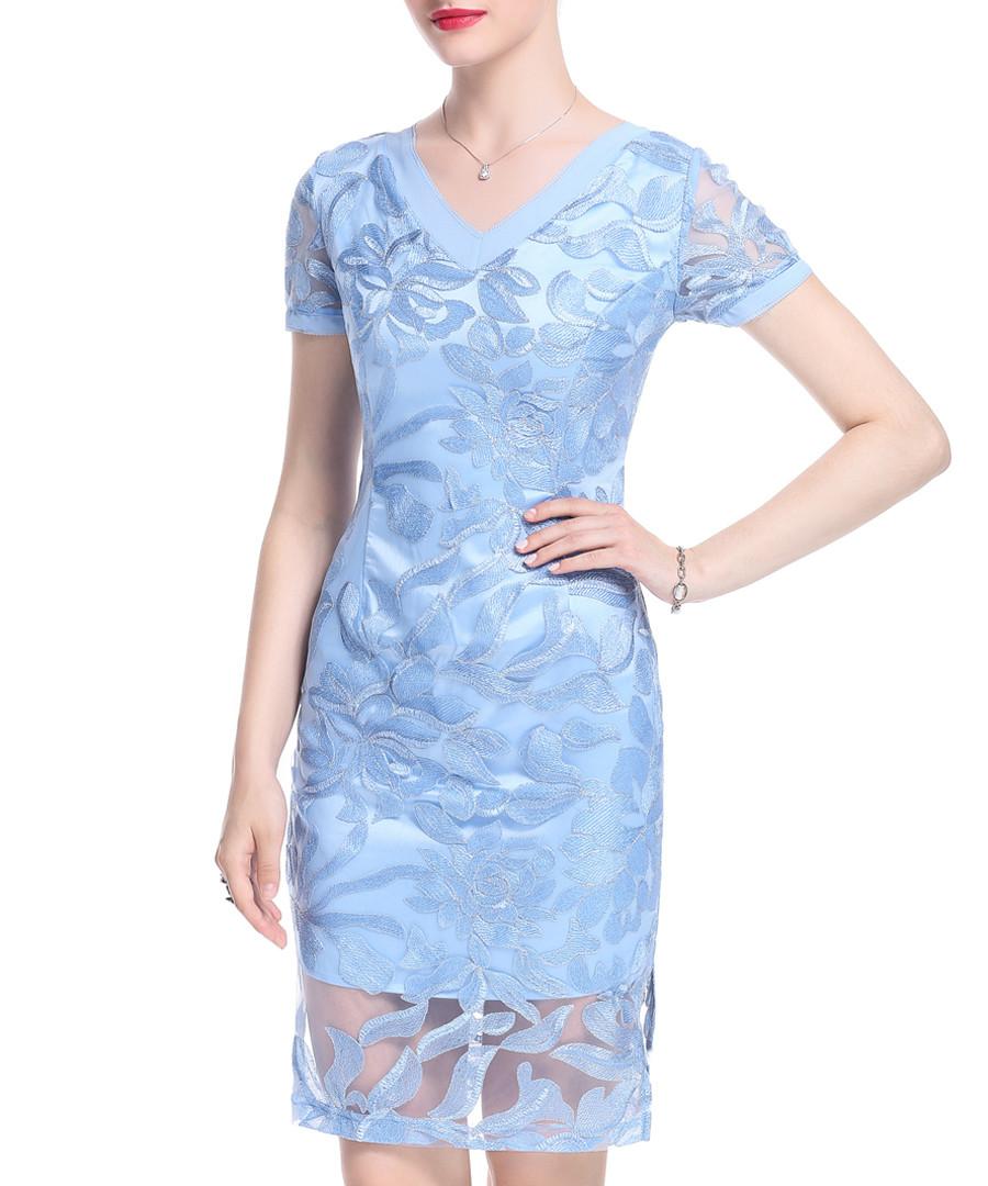Light blue V-neck embroidered dress Sale - lanelle