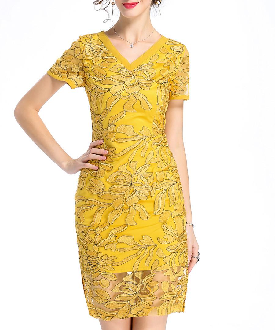 Amber V-neck embroidered dress Sale - lanelle