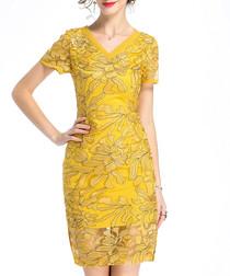 Amber V-neck embroidered dress