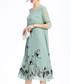 Pale green embroidered V-neck dress Sale - lanelle Sale