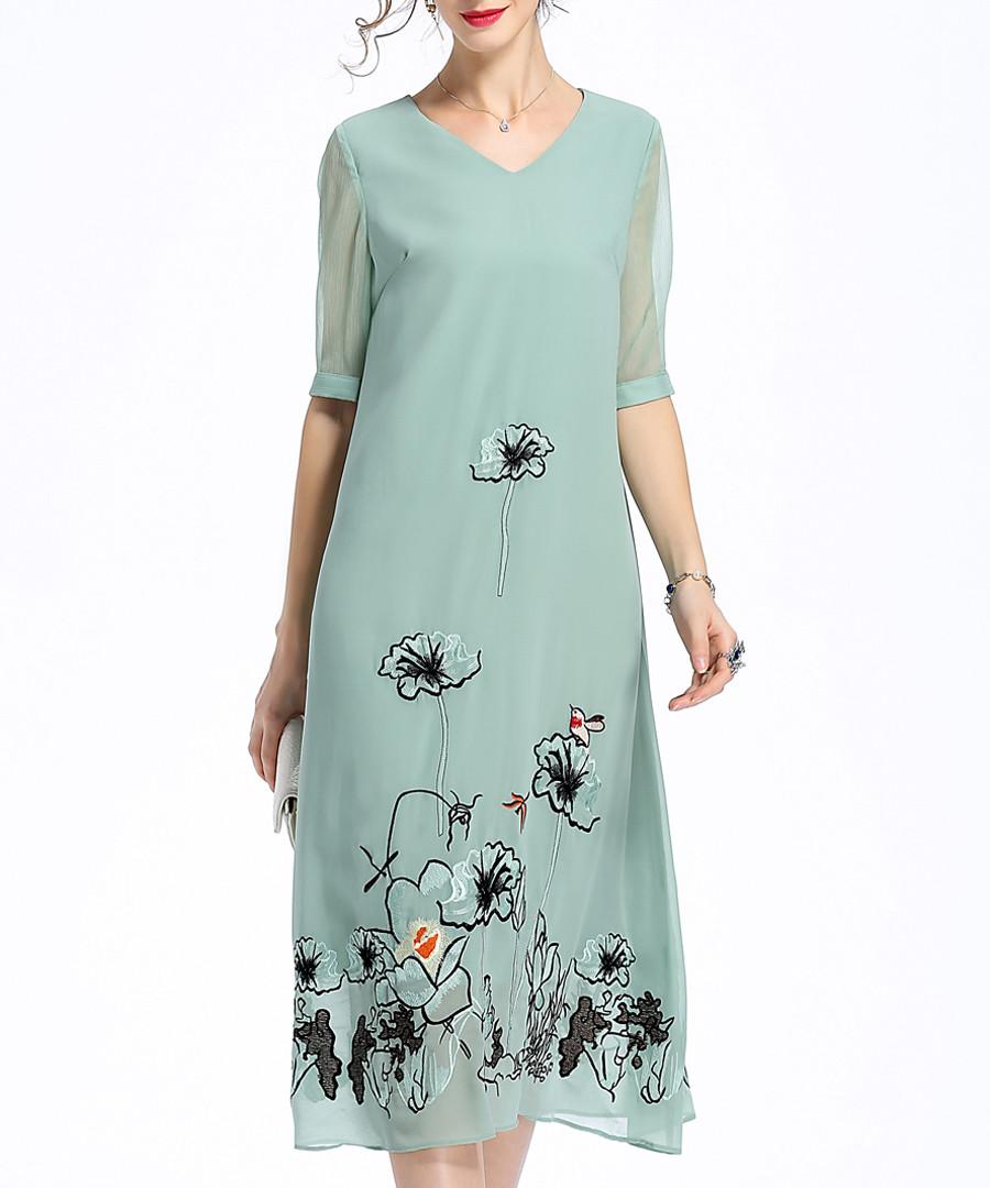 Pale green embroidered V-neck dress Sale - lanelle