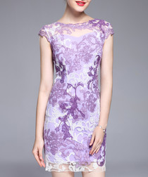 Purple cap sleeve print mini dress