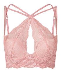 Zabella pink & silver lace bralette