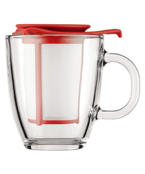 2pc Yo-Yo red tea cup & strainer