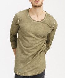 Khaki pure cotton long sleeve top