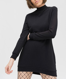 Anthracite pure cotton high-neck dress