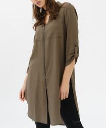 Olive button-up long side split shirt