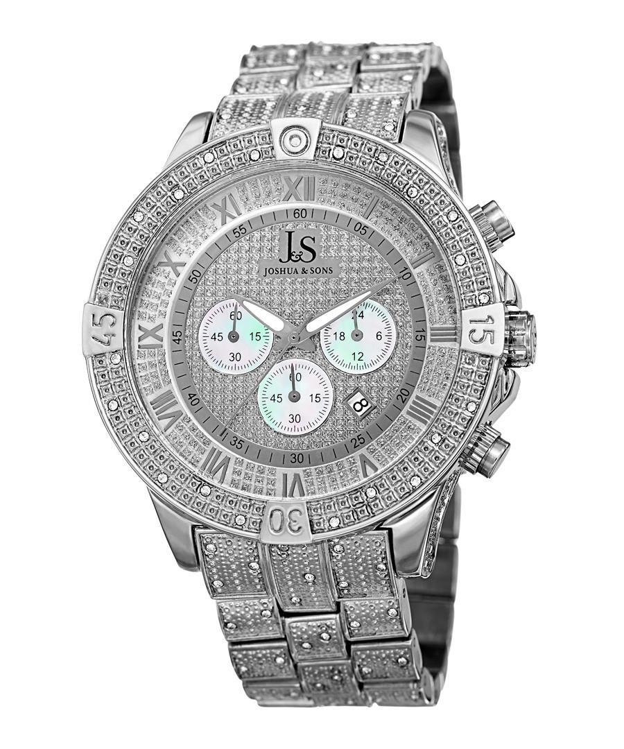 Silver-tone steel numeral watch Sale - Joshua & Sons