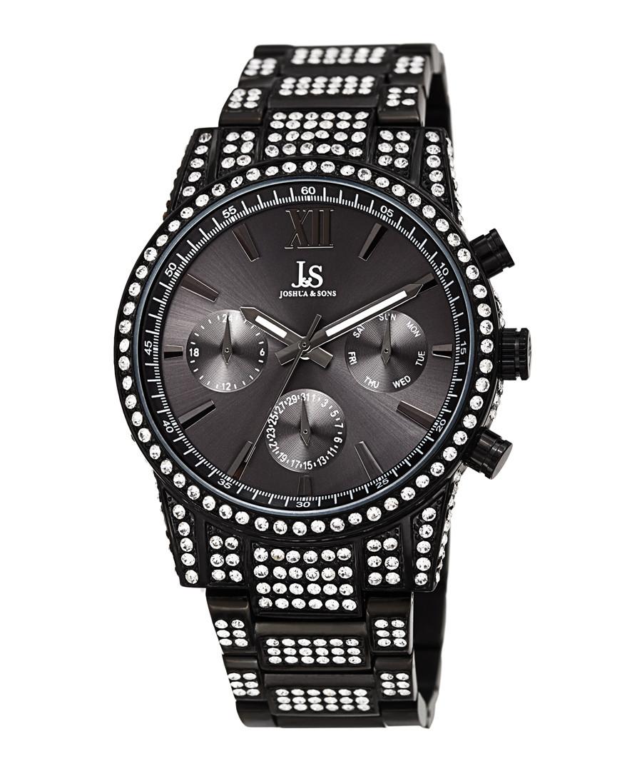 Black steel & crystal strap watch Sale - Joshua & Sons