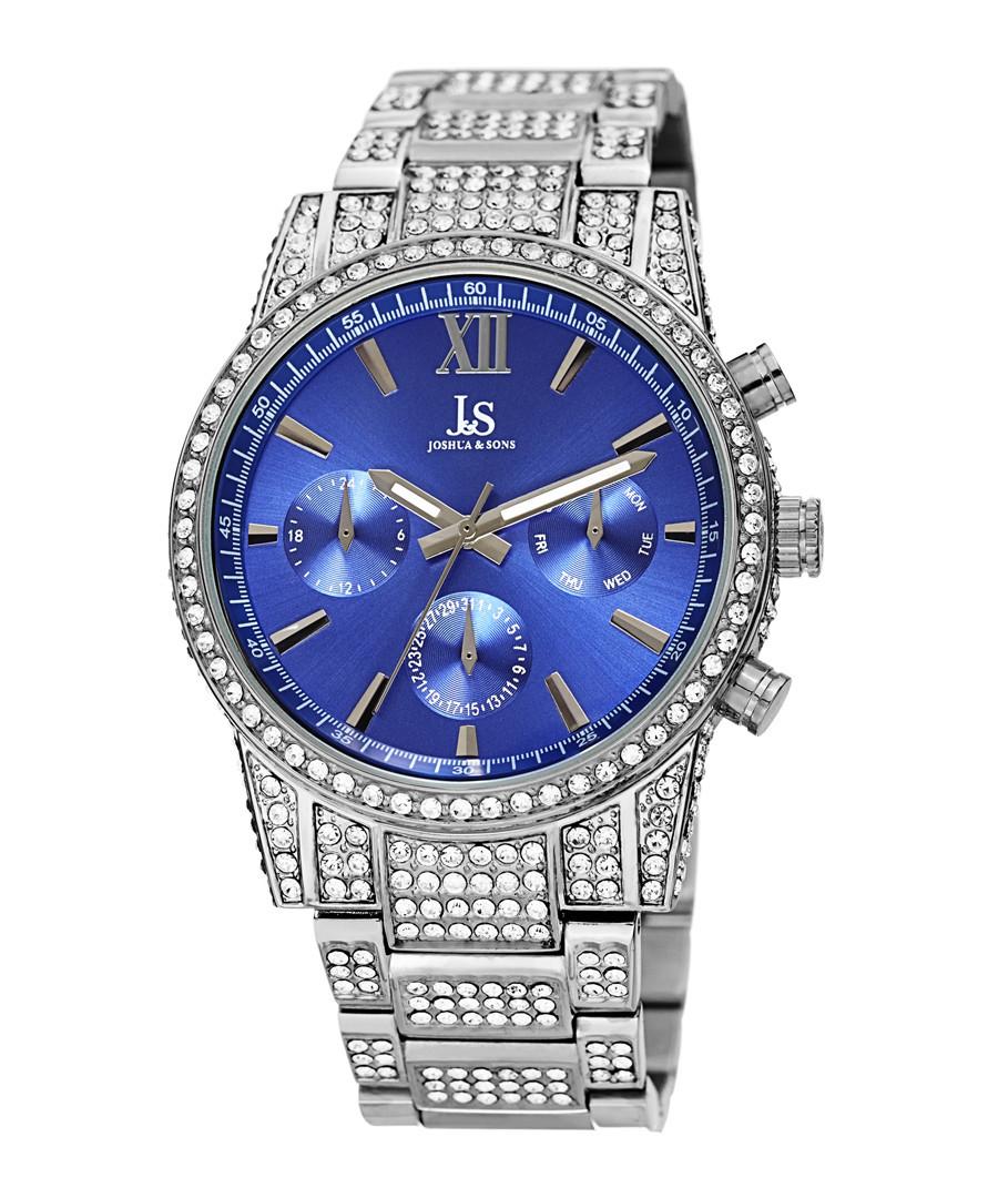 Silver-tone steel & crystal strap watch Sale - Joshua & Sons