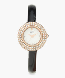 Black & rose gold-tone slim watch