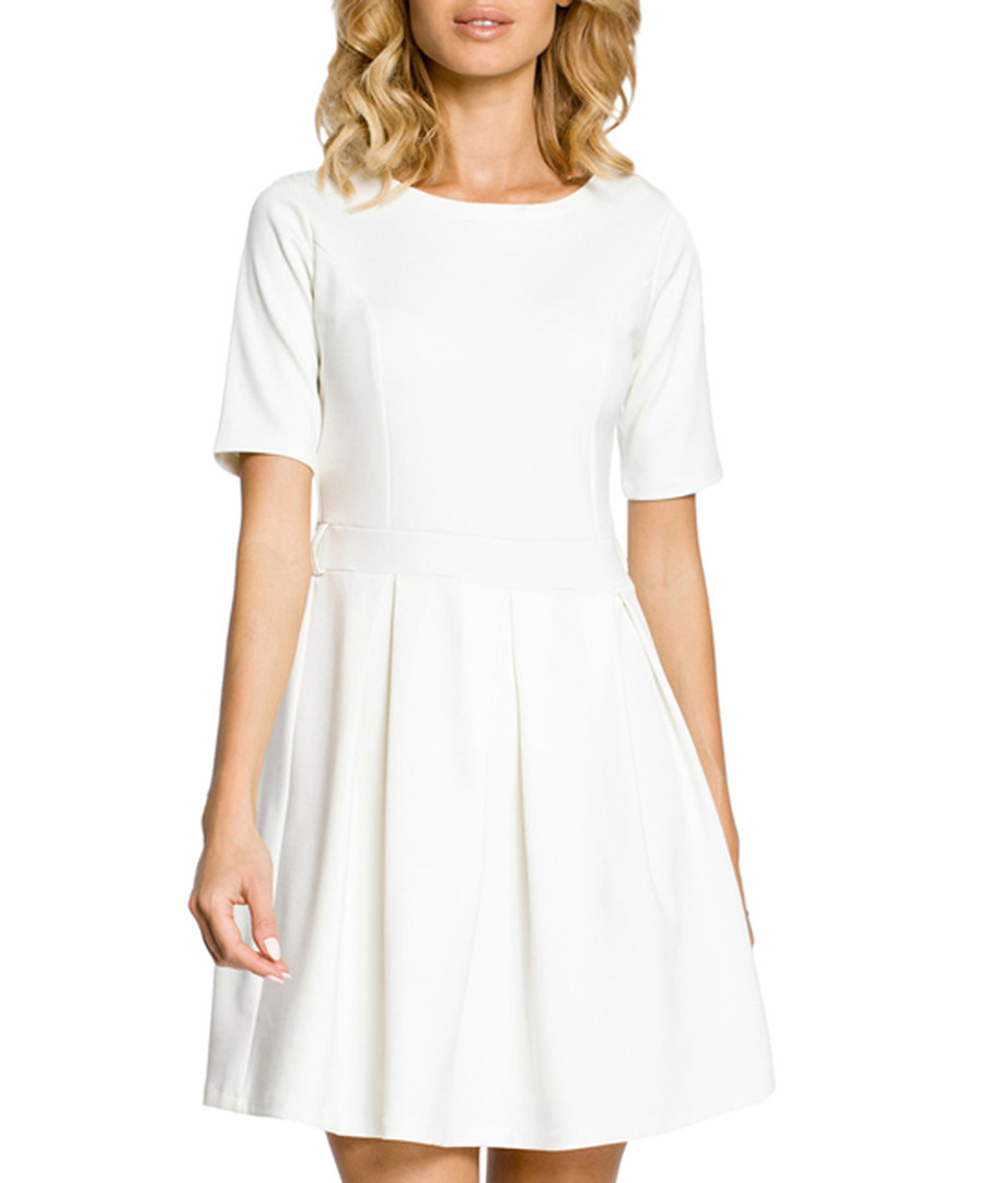 Ecru cotton blend pleated mini dress Sale - made of emotion