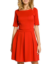 Red cotton blend pleated mini dress