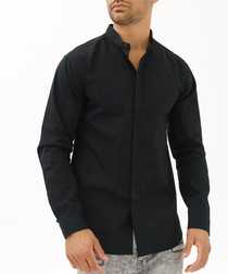 Black pure cotton button-up shirt