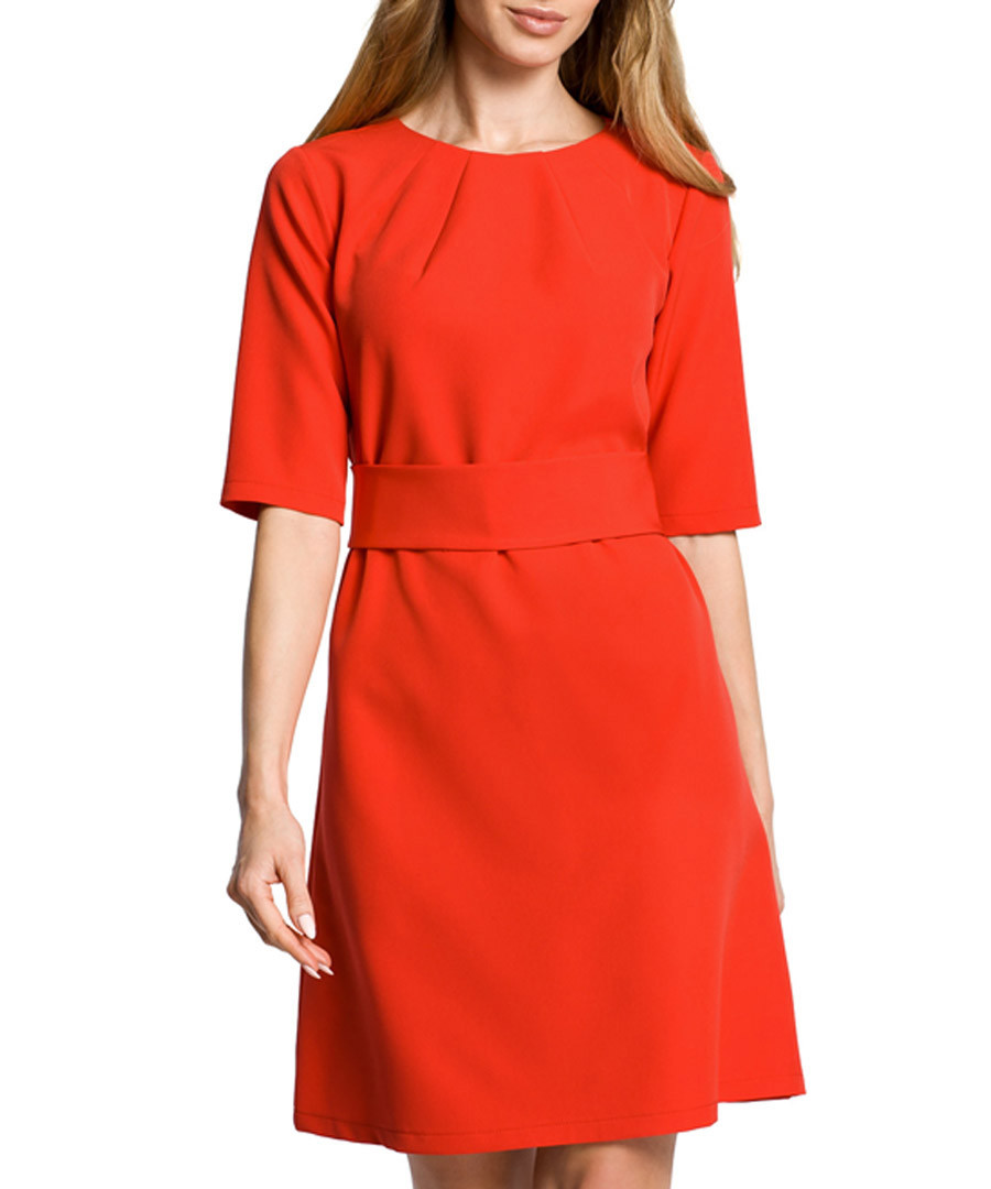 Red 3/4 sleeve knee-length dress Sale - made of emotion