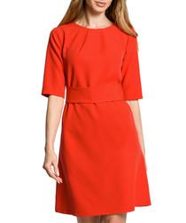 Red 3/4 sleeve knee-length dress