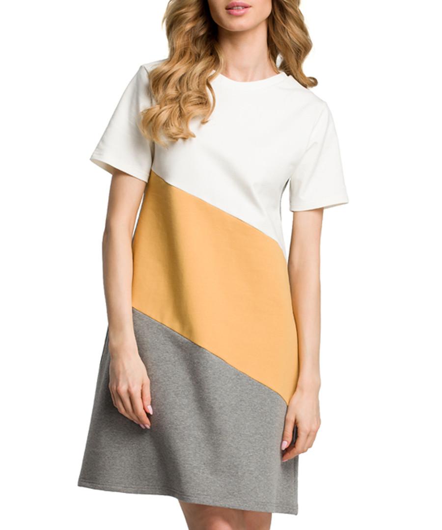 Grey & camel cotton blend T-shirt dress Sale - made of emotion