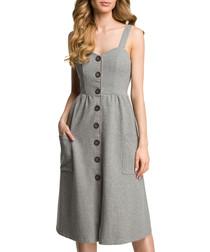 Grey melange cotton blend dress