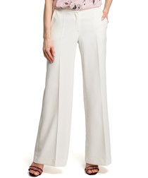 Ecru wide-leg trousers