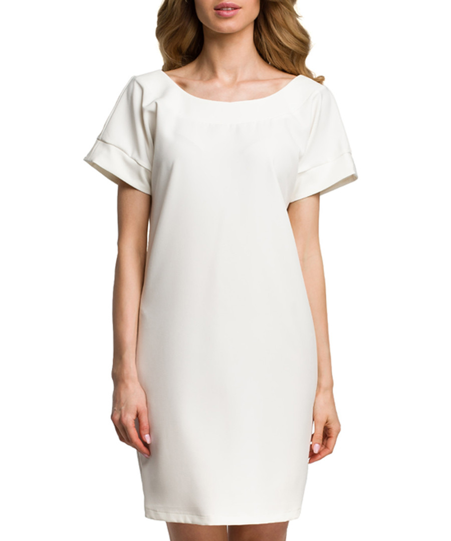 Ecru scoop neck mini dress Sale - made of emotion