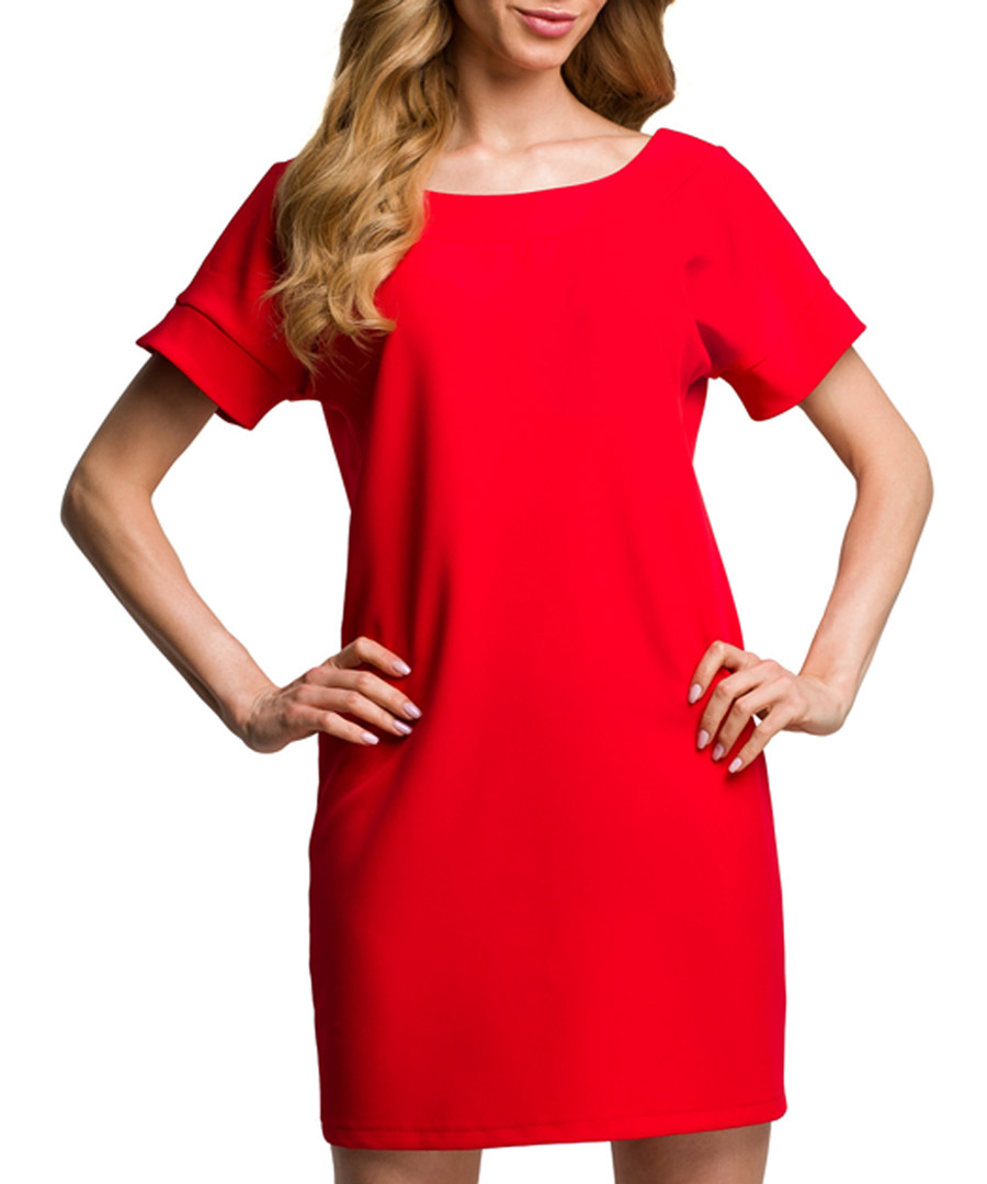 Red scoop neck mini dress Sale - made of emotion