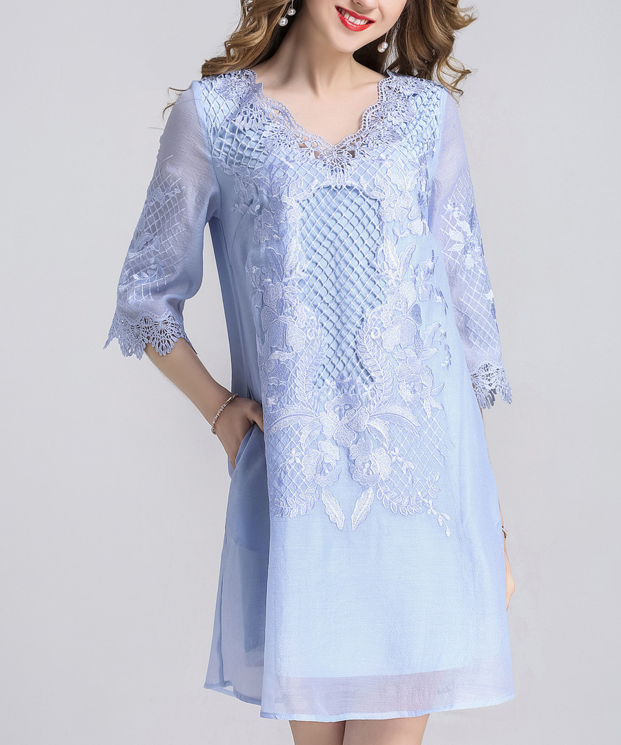 Sky blue overlay half sleeve dress Sale - AIHONXY