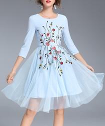 Light blue & red printed dress