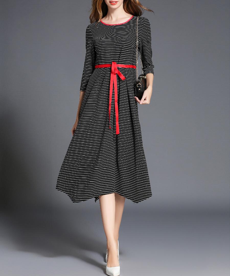 Black & red trim stripe midi dress Sale - Kaimilan