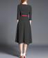 Black & red trim stripe midi dress Sale - Kaimilan Sale