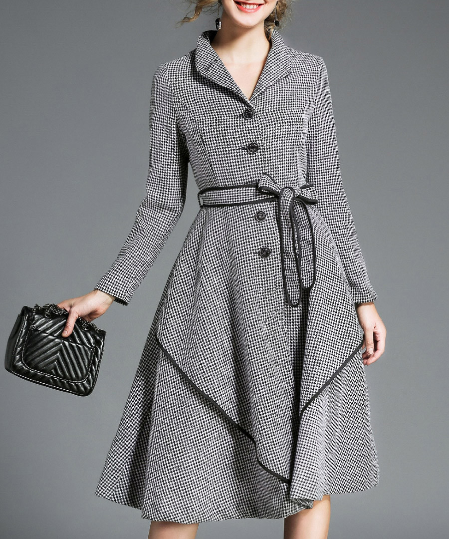 Grey long sleeve button-up midi dress Sale - Kaimilan