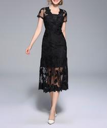 Black short sleeve lace midi dress
