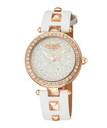 Rockaway Parkway white leather watch