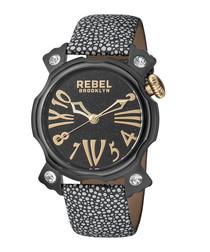 Coney Island black leather watch
