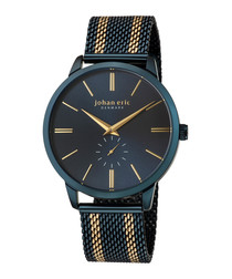 Kolding blue & gold-tone mesh watch