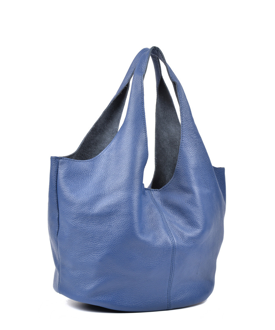 1dfec487c ... Blue leather slouch shape shoulder bag Sale - Carla Ferreri Sale