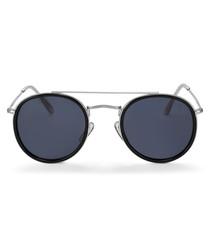 Lucas black & grey circular sunglasses