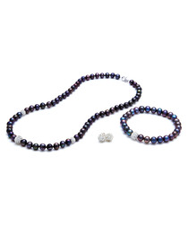 3pc peacock pearl & sterling silver set