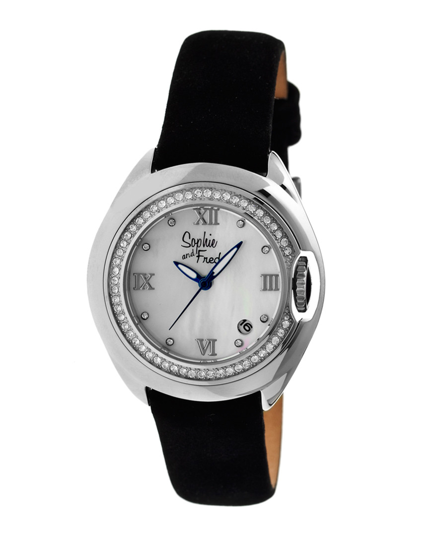 Silver-tone steel numeral watch Sale - sophie & freda