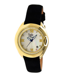 Gold-tone & black leather watch